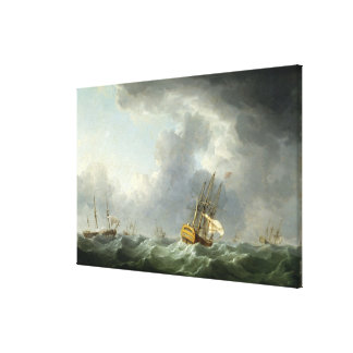 English Ships Running Before a Gale Gallery Wrapped Canvas
