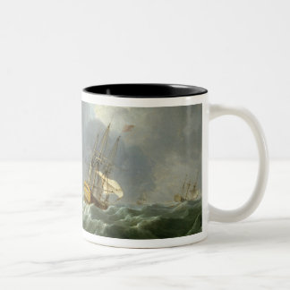 English Ships Running Before a Gale (oil on canvas Two-Tone Coffee Mug