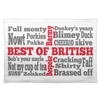 English slang on the St George's Cross flag Placemat