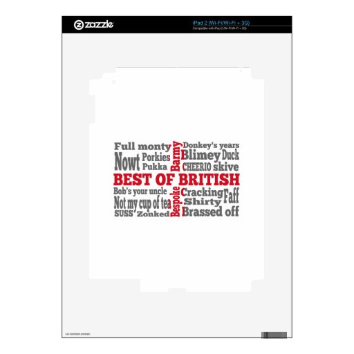 English slang on the St George's Cross flag Decal For iPad 2