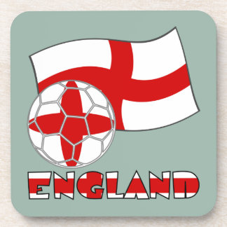 English Soccer Ball and Flag Beverage Coaster