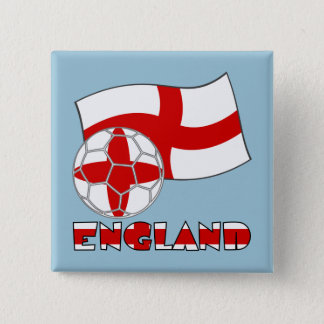 English Soccer Ball and Flag Pinback Button