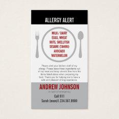 English/spanish Bilingual Allergy Alert Card at Zazzle