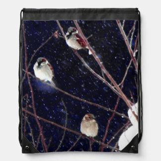 English Sparrow Bird Family in Snowy Winter Storm Drawstring Bag