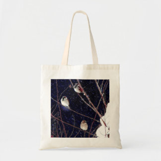English Sparrow Bird Family in Snowy Winter Storm Tote Bag