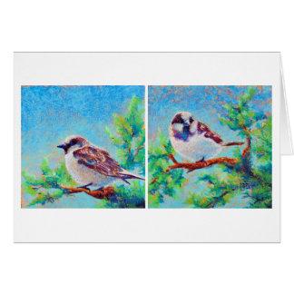 English Sparrows Looking at Spring Card