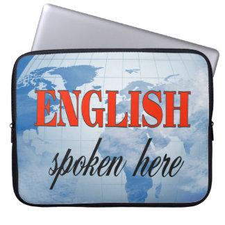 English spoken here cloudy earth laptop sleeve