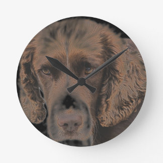 English Springer Dogs Round Clock