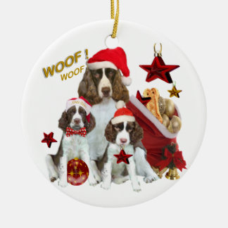 English Springer holiday decorations Double-Sided Ceramic Round Christmas Ornament
