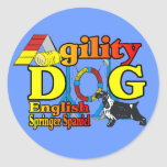 English Springer Spaniel Agility Gifts Round Stickers