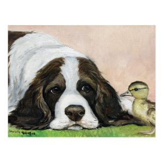 English Springer Spaniel and Duckling Art Postcard
