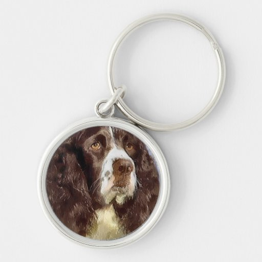 English Springer Spaniel Art Silver-Colored Round Keychain