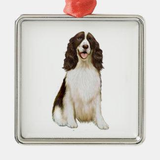 English Springer Spaniel (B) - Liver and White Square Metal Christmas Ornament