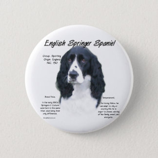 English Springer Spaniel (blk) History Design Pinback Button