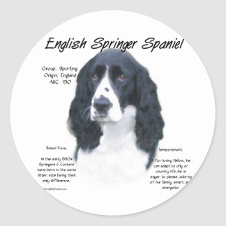 English Springer Spaniel blk History Design Stickers