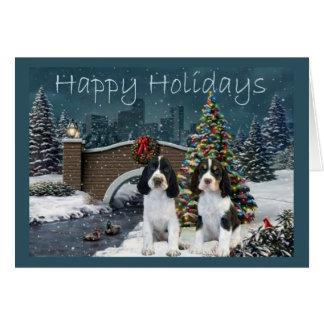 English Springer Spaniel Christmas Card Evening
