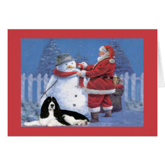 English Springer Spaniel Christmas Card Santa and