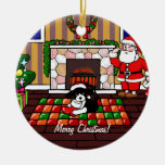 English Springer Spaniel Christmas Cartoon Ceramic Ornament