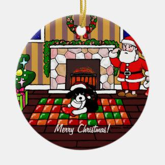 English Springer Spaniel Christmas Cartoon Double-Sided Ceramic Round Christmas Ornament