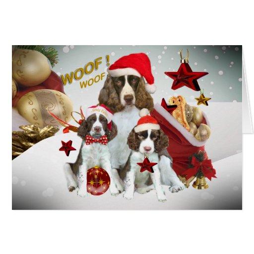 English Springer Spaniel Christmas Decorations Greeting Card