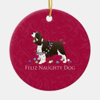 English Springer Spaniel Christmas Design Ceramic Ornament