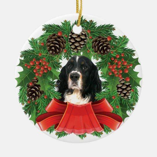 English Springer Spaniel Christmas Holiday Wreath Ceramic Ornament