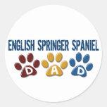 ENGLISH SPRINGER SPANIEL Dad Paw Print 1 Round Stickers
