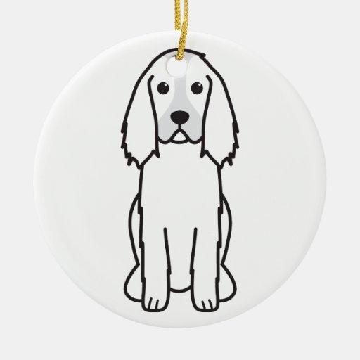 English Springer Spaniel Dog Cartoon Double-Sided Ceramic Round Christmas Ornament