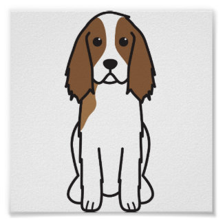 English Springer Spaniel Dog Cartoon Posters