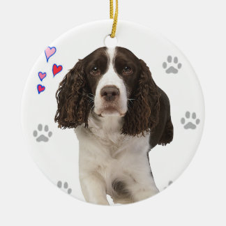 English Springer Spaniel Dog Double-Sided Ceramic Round Christmas Ornament