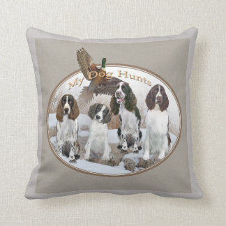 English Springer Spaniel Dog Hunts Throw Pillow