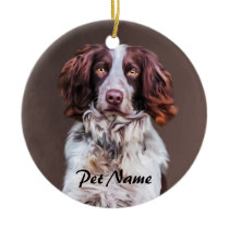 English Springer Spaniel Dog Oil Painting Portrait Ceramic Ornament