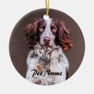 English Springer Spaniel Dog Oil Painting Portrait Ceramic Ornament