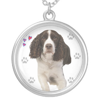 English Springer Spaniel Dog Silver Plated Necklace