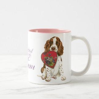 English Springer Spaniel Heart Mom Two-Tone Coffee Mug