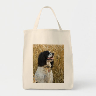 english springer spaniel in wheat.png tote bag