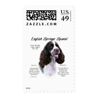 English Springer Spaniel (liver) History Design Postage Stamp