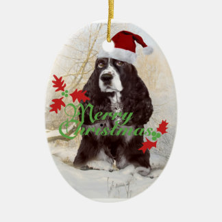 English Springer Spaniel Merry Christmas Double-Sided Oval Ceramic Christmas Ornament