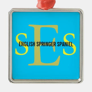 English Springer Spaniel Monogram Design Square Metal Christmas Ornament