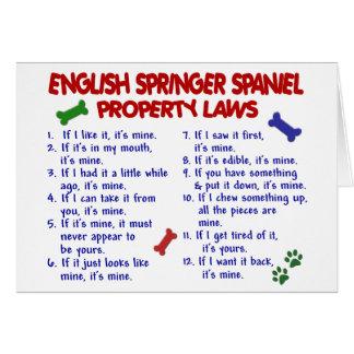 ENGLISH SPRINGER SPANIEL Property Laws 2 Greeting Card