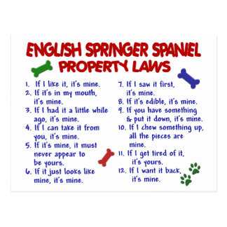 ENGLISH SPRINGER SPANIEL Property Laws 2 Post Card