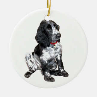 English Springer Spaniel Puppy - black and white Double-Sided Ceramic Round Christmas Ornament