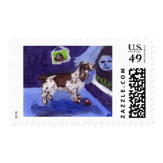 English Springer Spaniel senses smiling moon Stamp
