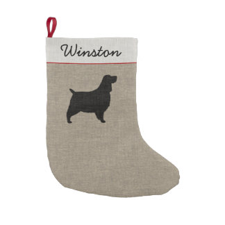 english springer spaniel silhouette with text small christmas stocking