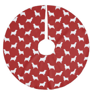 English Springer Spaniel Silhouettes Pattern Red Brushed Polyester Tree Skirt