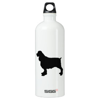 English Springer Spaniel Silhoutee, Freehand Drawn Water Bottle