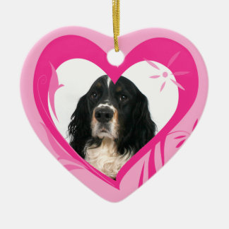 English Springer Spaniel Valentine's Heart Ornamen Ceramic Ornament