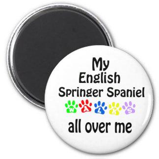English Springer Spaniel Walks Design 2 Inch Round Magnet