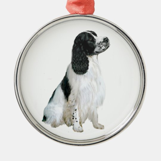 English SpringerSpaniel (A) - Black and white Metal Ornament