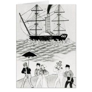 English Steamship at Canton, 1840 Greeting Cards